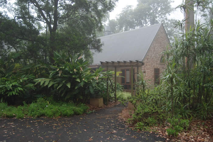 Entrance to Witches Falls Cottages - Low Mist Day