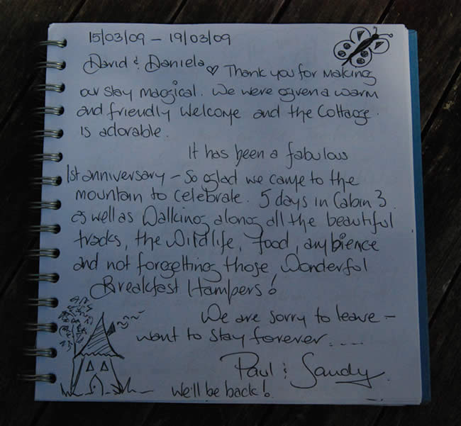 Guest Book Page Witches Falls Cottages a Magical Stay