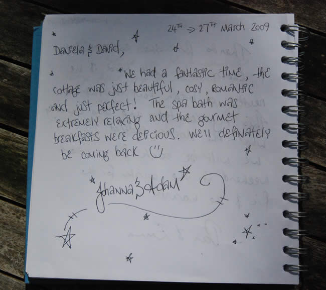 Guest Book Page Witches Falls Cottages a Romantic Break