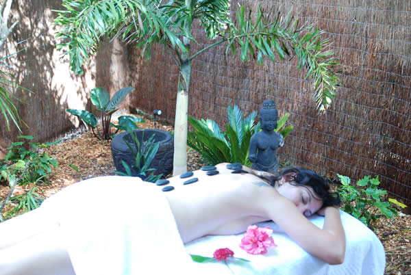 Massage outdoors in the private courtyard garden