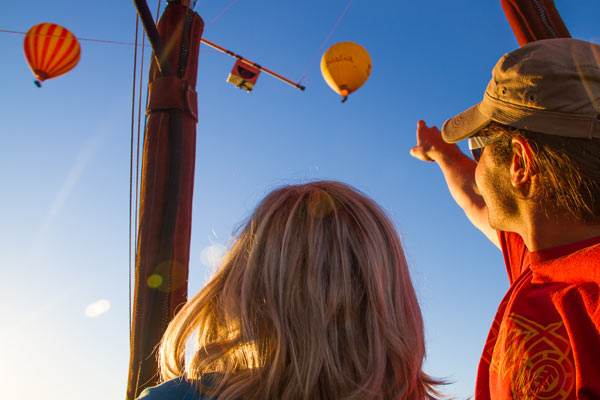 Couple enjoying the Hot Air Ballooning experience