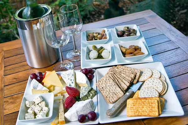 Cheese Platter with a bottle of local wine
