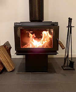 Roaring fireplace at WFC cottages