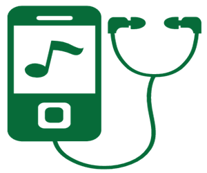 Green Music Player Icon with earphones