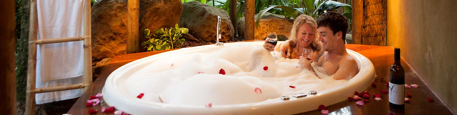 Couple in Spa on Romantic Getaway