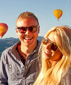 Couple in Hot Air Balloon on Private Charter