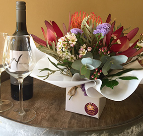 Complimentary Honeymoon Box of Flowers and Wine - Witches Falls Cottages