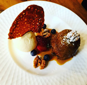 Sticky Date and Walnut Pudding at Three Little Pigs Restaurant