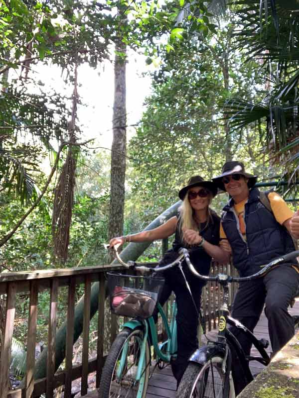 Couple on bikes trying out the Witches Cycling Trail