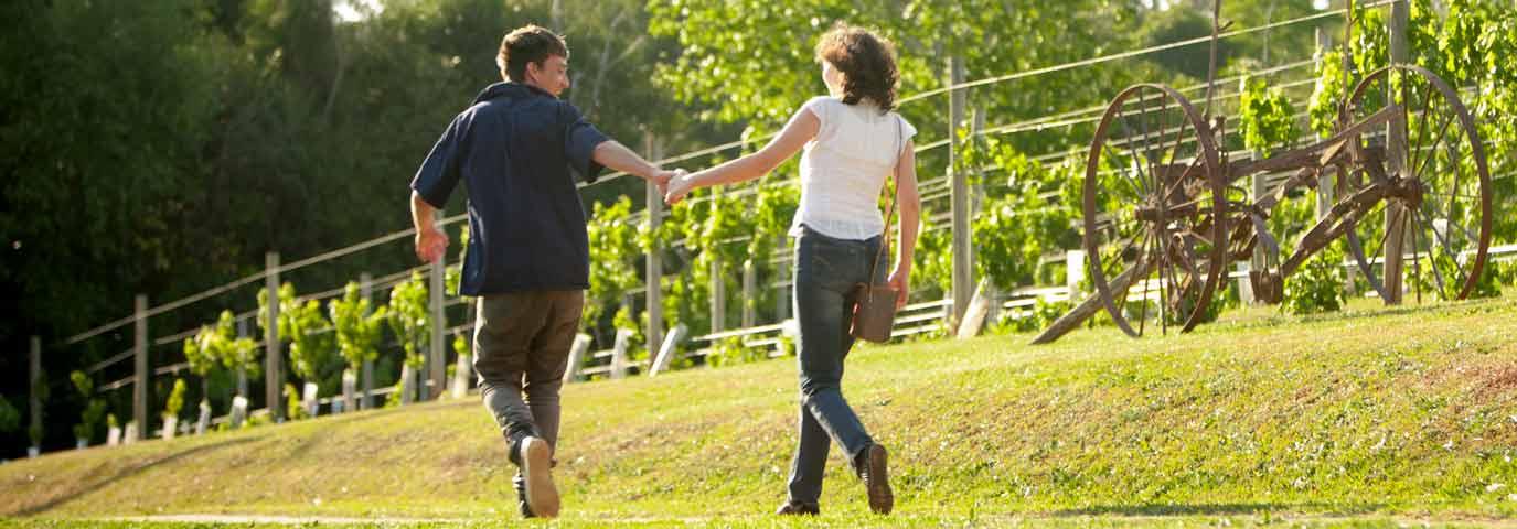 Happy Couple Walking the Tamborine Mountain Wine Trail