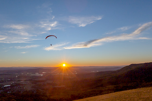 Hang Glider over Tamborine Mountain at Sunset