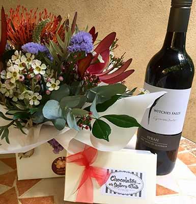 Flowers - Box Chocolates - Bottle Wine