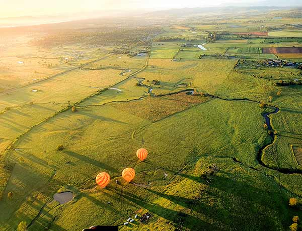 Hot Air Balloons flying over the Scenic Rim Area
